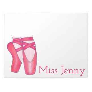 Pink Ballet Pointe Toe Shoe Dance Teacher Notepad