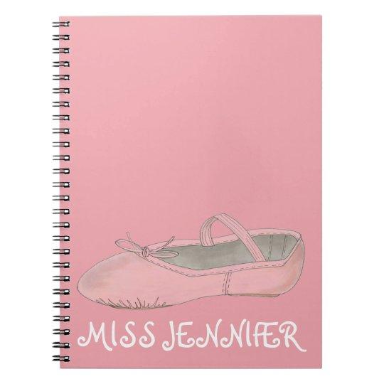 Pink Ballet Shoe Dance Teacher Gift Notebook