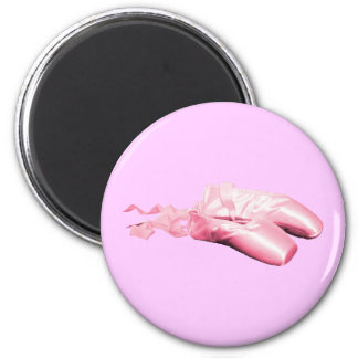 Pink Ballet Shoes 6 Cm Round Magnet