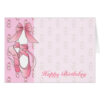 Pink Ballet Shoes Birthday Cards