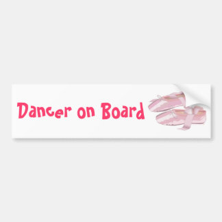 Pink Ballet Shoes Slippers Dancer on Board Bumper Sticker