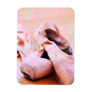 Pink Ballet Slipper Pointe Shoes Dance Template Rectangular Photo Magnet