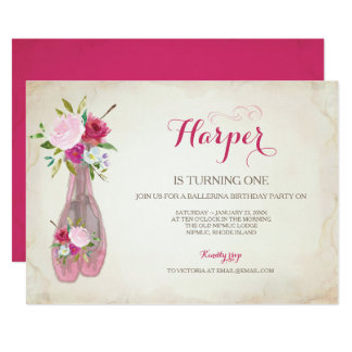 Pink Ballet Slippers Invitation