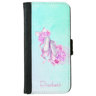 Pink Ballet Slippers Personalized iPhone 6 Wallet Case