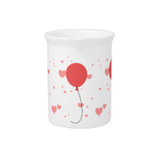 Pink Balloon & Hearts Pitcher