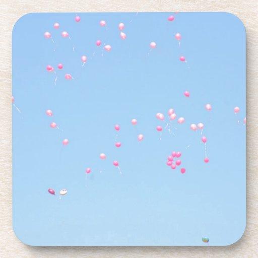 Pink Balloons Beverage Coasters