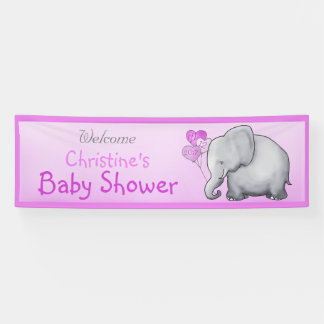 Pink Balloons Elephant Girl Baby Shower Banner