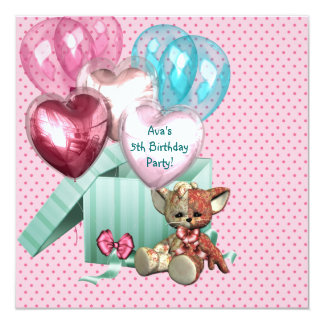 "Pink Balloons Girls 5th Birthday Party 5.25"" Square Invitation Card"