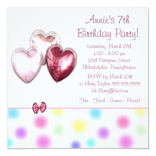 Pink Balloons Girls 7th Birthday Party Card