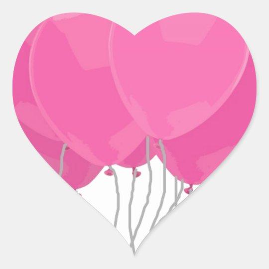 Pink Balloons Heart Sticker
