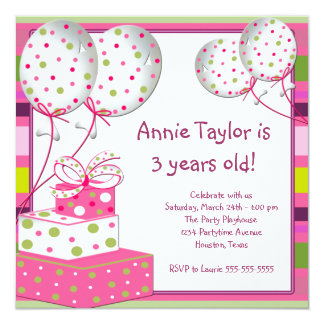 Pink Balloons Presents Girls 3rd Birthday Party 13 Cm X 13 Cm Square Invitation Card