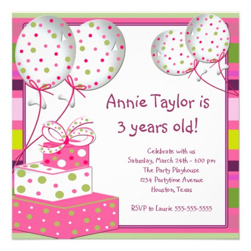 Pink Balloons Presents Girls 3rd Birthday Party Invitations