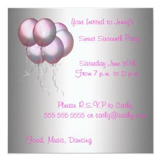Pink Balloons Sweet Sixteen Invitation