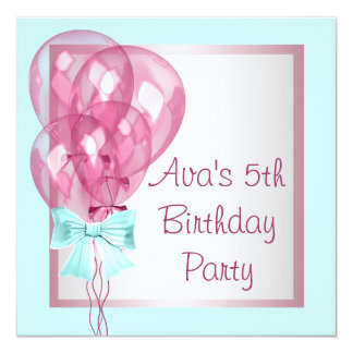 Pink Balloons Teal Blue Girls Birthday Party Personalized Announcement