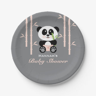 Pink Bamboo Panda Baby Shower 7 Inch Paper Plate