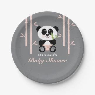 Pink Bamboo Panda Baby Shower Paper Plate