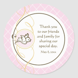 Pink Baptism/Christening Favor Sticker