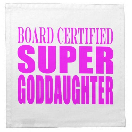 Pink Baptisms & Birthdays : Super Goddaughter Printed Napkins