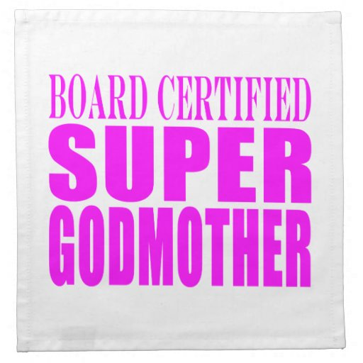 Pink Baptisms & Birthdays : Super Godmother Printed Napkins