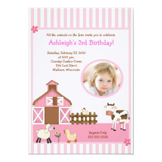 Pink Barn Animal Farm PHOTO Birthday Invitations