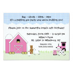 Pink Barn Farm birthday invitation with animals 13 Cm X 18 Cm Invitation Card