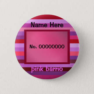 pink barrio text template 6 cm round badge