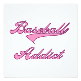 Pink Baseball Addict T-shirts and Gifts 5.25x5.25 Square Paper Invitation Card