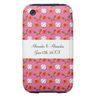 Pink baseball wedding favors iPhone 3 tough covers