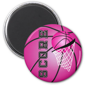 Pink Basketball 6 Cm Round Magnet