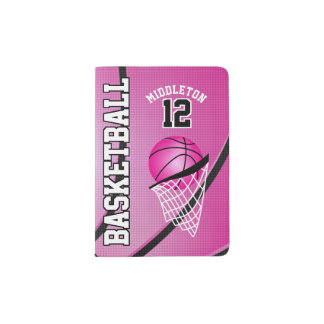 Pink Basketball Design | Personalize Passport Holder