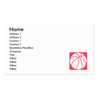 Pink basketball pack of standard business cards