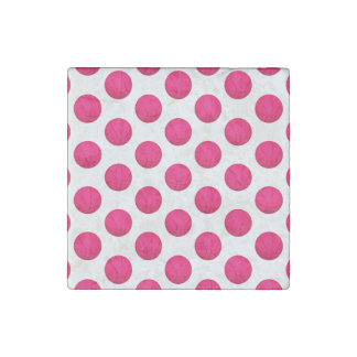 Pink Basketball Pattern Stone Magnet