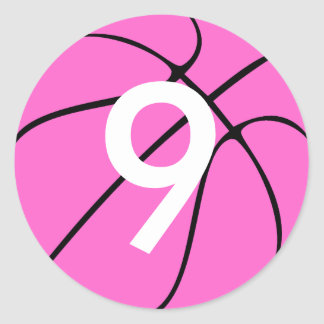 Pink Basketball Round Stickers