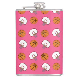 Pink basketballs and nets pattern hip flasks