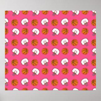 Pink basketballs and nets pattern print