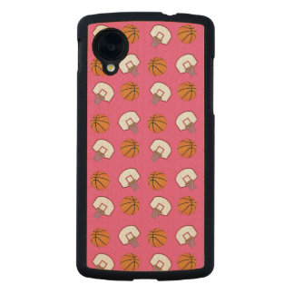 Pink basketballs and nets pattern carved® maple nexus 5 slim case