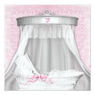 Pink Bassinet Baby Shower Card