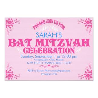 Pink Bat Mitzvah Invitation