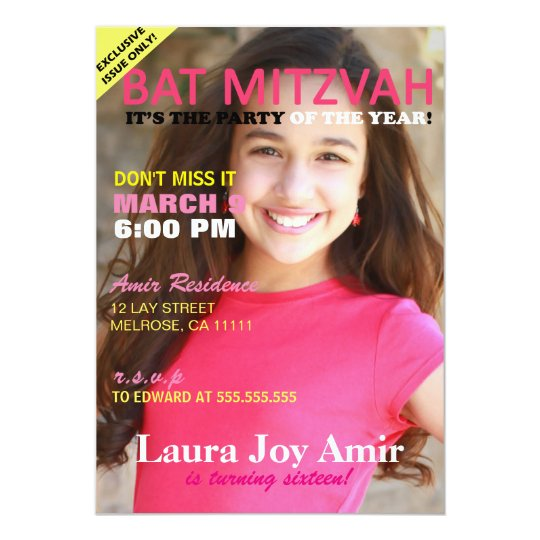 Pink Bat Mitzvah Magazine Cover Party Invitation