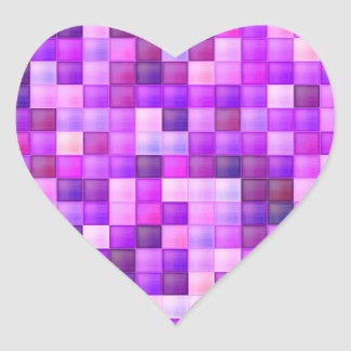Pink Bathroom Tile Squares pattern Heart Sticker