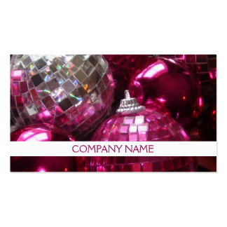 Pink Baubles business card front text white