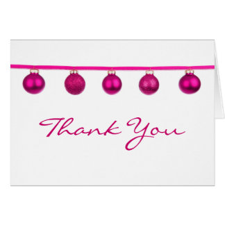 Pink Baubles on Ribbon Christmas Thank You Note Card