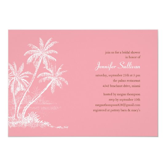 Pink Beach Bridal Shower Invitations