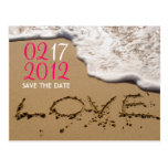 "Pink Beach ""Love in the Sand"" Save the Date Post Cards"