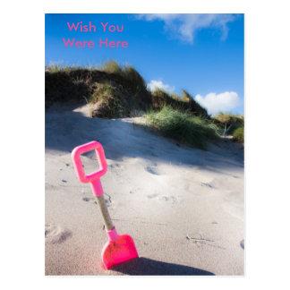 Pink Beach Spade Postcard
