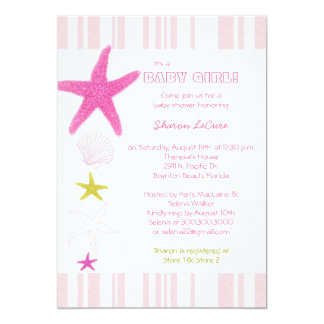 Pink Beach Starfish Stripes Baby Girl Baby Shower Card