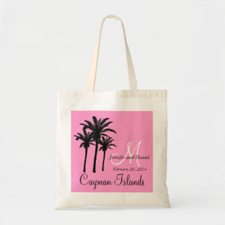 Pink Beach Wedding Tote Bags Palm Trees