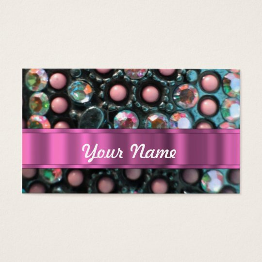 Pink beaded perrsonalized business card