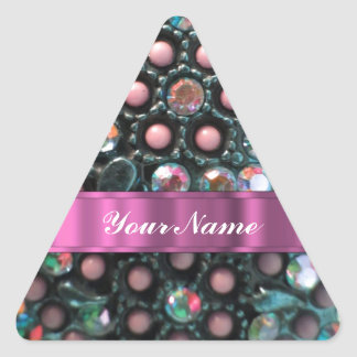 Pink beaded perrsonalized triangle sticker