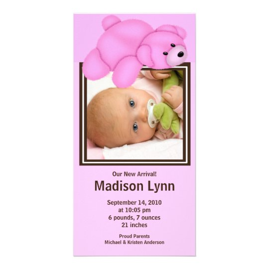 Pink Bear Baby Girl Birth Annoucement Card